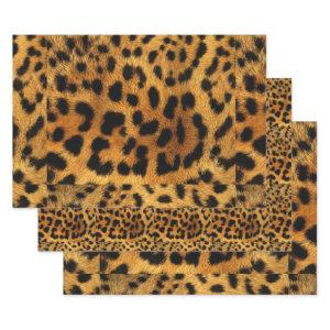 trendy chic animal pattern brown leopard print wrapping paper sheets
