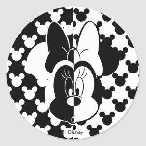 Trendy Minnie | Black & White Modern Classic Round Sticker