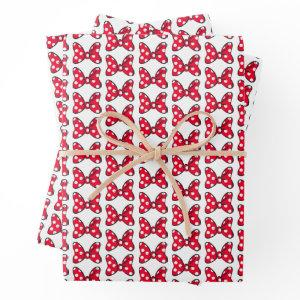 Trendy Minnie | Red Polka Dot Bow Wrapping Paper Sheets