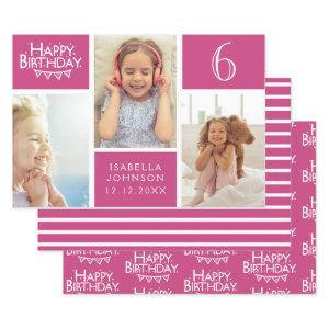 Trendy Pink Stripe Photo Collage Happy Birthday Wrapping Paper Sheets
