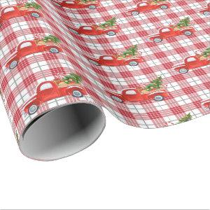 Trendy Red Plaid Vintage Christmas Truck Holiday Wrapping Paper