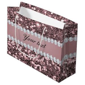 Trendy Rose Gold Faux Glitter and Diamonds Large Gift Bag
