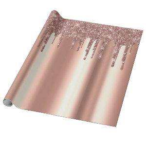 Trendy Rose Gold Glitter Drips Metal Wrapping Paper