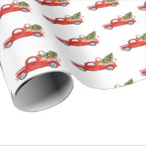 Trendy Rustic Red Vintage Christmas Truck Holiday Wrapping Paper