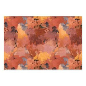Trendy Terracotta Brown Orange Abstract Pattern Wrapping Paper Sheets