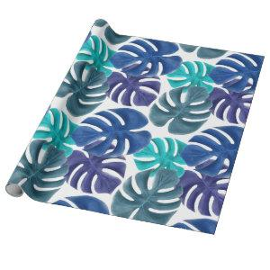 Trendy Tropical Royal Blue & Aqua Monstera Leaves Wrapping Paper