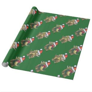 Triceratops Christmas Green Wrapping Paper