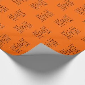 Trick-or-Treat Halloween Black on Orange Wrapping Paper
