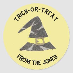 Trick-or-treat personalized yellow stickers