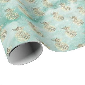 tropic aqua mint green marble stone pineapple gold wrapping paper