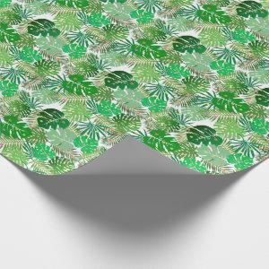 Tropical Beach Foliage Christmas Lights Holiday Wrapping Paper