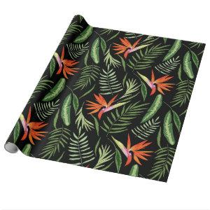 Tropical Bird of Paradise and Ferns on Black Wrapping Paper