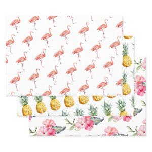 Tropical Flamingo Pineapple Summer Cute Wrapping Paper Sheets