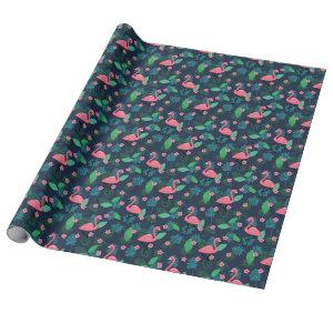 Tropical Flamingos & Plumeria - Pattern Wrapping Paper