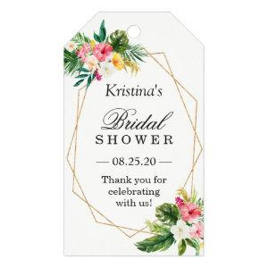 Tropical Floral Flamingo Bridal Shower Thank You Gift Tags