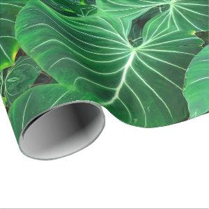 Tropical green leaves wrapping paper