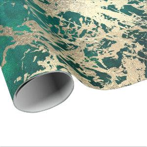 Tropical Green Molten Gold Marble Shiny Metallic Wrapping Paper