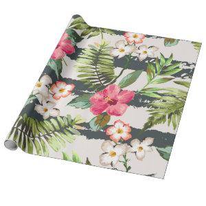 Tropical Hibiscus Flowers Leaves Stripes Pattern Wrapping Paper