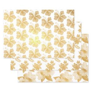 Tropical Hibiscus Flowers Pattern Foil Wrapping Paper Sheets