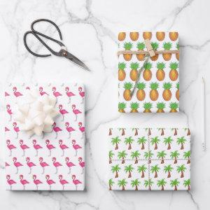 Tropical Island Pink Flamingo Palm Tree Pineapple Wrapping Paper Sheets