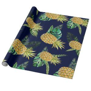 Tropical leaves, watercolor pineapple pattern wrapping paper