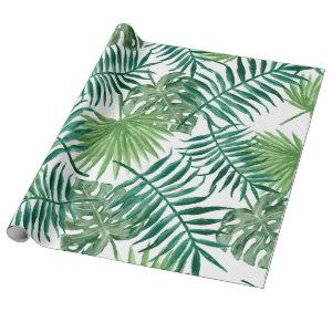 Tropical Monstera and Palm Leaves Wrapping Paper