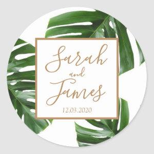 Tropical Palm Leaf green rose gold wedding sticker