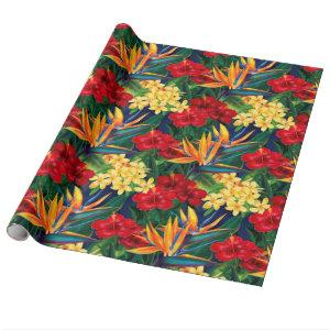 Tropical Paradise Hawaiian Floral Allover Print Wrapping Paper