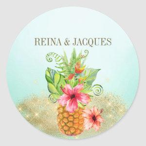 Tropical Pineapple Floral Wedding Seal Sticker