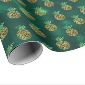 Tropical pineapple fruit gold deep green glass wrapping paper