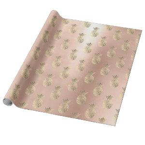 Tropical pineapple fruit rose gold blush powder wrapping paper