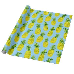 Tropical pineapple party wrapping paper