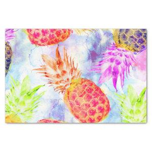 Tropical Pineapple Pattern Watercolor Decoupage Tissue Paper