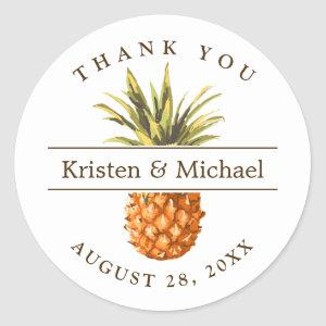 Tropical Pineapple Thank You Wedding Favor Classic Round Sticker