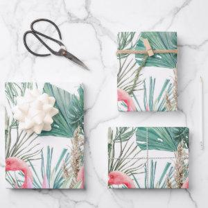 Tropical Pink Flamingo Couple Wedding Wrapping Paper Sheets