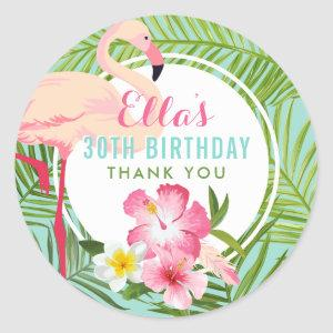 Tropical Pink Flamingo Floral Birthday Party Classic Round Sticker