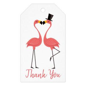 Tropical Pink Flamingo Thank You Wedding Gift Tags