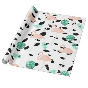Tropical pink flamingo watercolor leaf polka dots wrapping paper