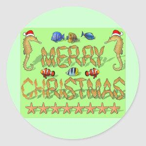 Tropical Reef Christmas Classic Round Sticker