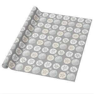 Tropical Sand Dollars Starfish Silver Gray Wrapping Paper