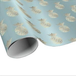 Tropical Summer Time Pineapple Fruits Aqua Wrapping Paper