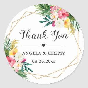 Tropical Watercolor Floral Wedding Favor Thank You Classic Round Sticker