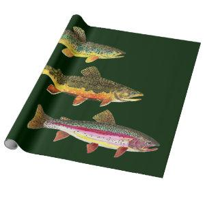 Trout Fishing - Brook, Brown, Rainbow Wrapping Paper