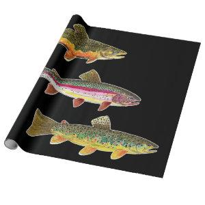 Trout Fly Fishing - Brook, Brown, Rainbow Wrapping Paper