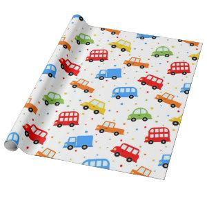 Trucks Cars Buses Vehicles Boy Birthday Wrapping Paper