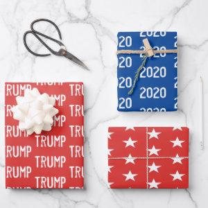 Trump 2020 and Stars Red White Blue Wrapping Paper