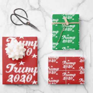 Trump 2020 Stars Red Green Wrapping Paper Sheets