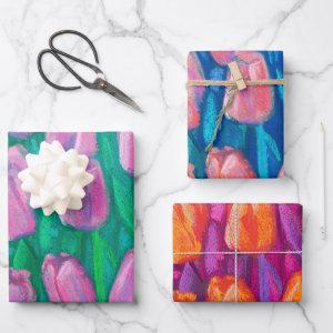 Tulips Field Spring Flowers Floral Pink Red Orange Wrapping Paper Sheets