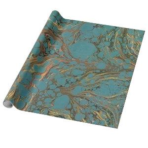 Turquoise and Gold, Marbled. Wrapping Paper