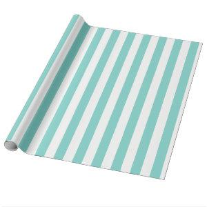 Turquoise and White Extra Large Stripe Pattern Wrapping Paper